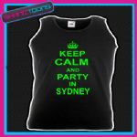 KEEP CALM AND PARTY IN SYDNEY HOLIDAY CLUBBING UNISEX VEST TOP